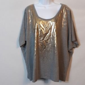 Lane Bryant Gray and Gold Top